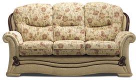 沙发三人座位在白色 免版税库存图片
