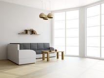 沙发和一张表在客厅 免版税库存图片