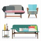 沙发和扶手椅子设计 免版税库存图片
