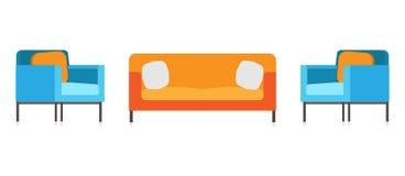 沙发和椅子办公室客厅长沙发放松 内部funriture传染媒介被隔绝的设计 假期象装饰标志艺术 后屿 向量例证
