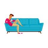 沙发平的设计传染媒介例证 免版税库存图片