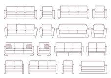 沙发,扶手椅子,长沙发集合 也corel凹道例证向量 向量例证