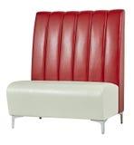 沙发,现代皮革红色灰棕色 图库摄影