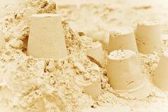 沙堡背景 免版税图库摄影