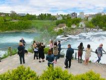沙夫豪森,瑞士- 2017年5月01日:最大的瀑布在河莱茵的欧洲在瑞士 库存照片
