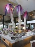 沙子和凉鞋Desaru海滩胜地的,柔佛州,马来西亚餐馆 免版税图库摄影