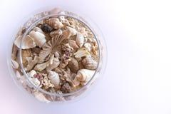沙子和壳在一块玻璃在白色背景 免版税库存照片