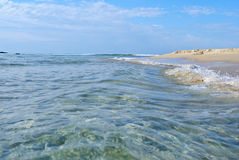 沙子和海在夏日 免版税库存照片