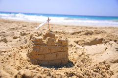 沙子城堡 免版税库存照片