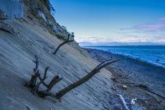 沙子峭壁和日落 库存照片