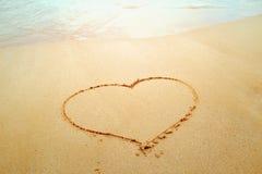 沙子心脏 免版税库存照片