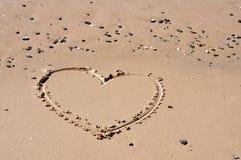 沙子心脏 图库摄影