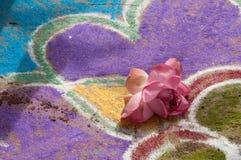 沙子油漆和莲花 免版税图库摄影