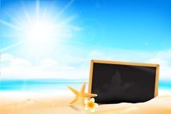 沙子海滩的001空白的黑人委员会 免版税库存图片