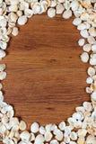 沙子海运壳 背景球海滩美好的空的夏天排球 顶视图 在一张木桌-暑假的提示上的贝壳 免版税库存图片