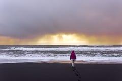 黑沙子海滩的岸 免版税库存图片