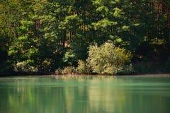 沙子猎物蓝色盐水湖在树之间的在Kersko捷克旅游区在晴朗的夏日期间在2018年7月 库存照片