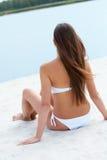 沙子的妇女 库存图片