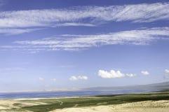 沙子的湖 图库摄影