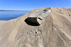 沙子的纹理在太阳的直接光芒的下在湖的 免版税库存图片