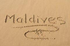 沙子的马尔代夫 免版税图库摄影