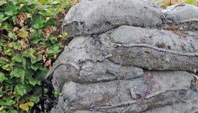 沙子袋子被转动对石头,第一次世界大战 库存照片