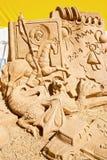 沙子雕塑的陈列 在池氏世界的雕塑  图库摄影