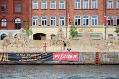 沙子雕塑节日在哥本哈根 库存照片