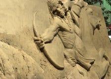 沙子雕塑,卡尔加里惊逃, 2011年7月11日 免版税库存照片