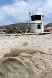 沙子雕塑,拉古纳海滩,加利福尼亚 免版税库存图片