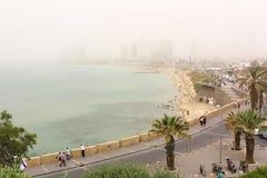 沙尘暴在特拉维夫 免版税库存照片
