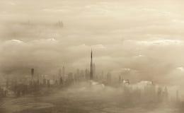 沙尘暴在迪拜 免版税库存照片