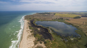 沙布拉海滩和Shabla湖鸟瞰图黑海的 库存图片