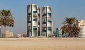 沙扎阿拉伯联合酋长国的全视图 免版税库存图片