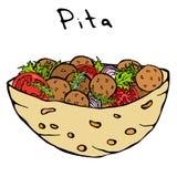 沙拉三明治皮塔饼或丸子沙拉在口袋面包 阿拉伯以色列健康快餐面包店 犹太街道食物 可实现 库存例证
