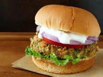 沙拉三明治汉堡用tzatziki调味汁 图库摄影