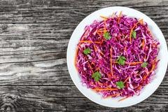 沙拉凉拌卷心菜-红叶卷心菜用在白色盘的红萝卜 库存照片