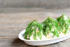 沙拉圣诞树 沙拉用肉、蘑菇、黄瓜和鸡蛋装饰用莳萝 圣诞节食谱 背景老木 免版税库存照片