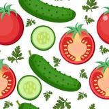沙拉无缝的样式 蕃茄和黄瓜不尽的背景,纹理 库存照片