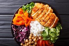 沙拉有鸡的菩萨碗烤了,菜,鸡豆, r 免版税库存照片