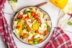 沙拉用乳酪和新鲜蔬菜 免版税库存图片