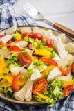 沙拉用乳酪和新鲜蔬菜 免版税库存照片