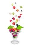 沙拉用新鲜的落的果子和莓果在玻璃 免版税库存照片