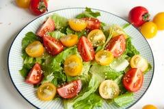 沙拉用红色和黄色蕃茄 免版税图库摄影