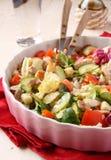 沙拉用肉、黄瓜、蕃茄和油煎方型小面包片 免版税库存照片