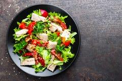 沙拉用肉 新鲜蔬菜沙拉用被烘烤的肉 与新鲜蔬菜的肉沙拉 免版税库存照片