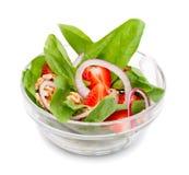 沙拉用菠菜和草莓 免版税图库摄影