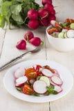 沙拉用萝卜、西红柿和黄瓜在白色木 免版税库存照片