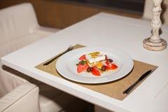 沙拉用蕃茄和乳酪 图库摄影