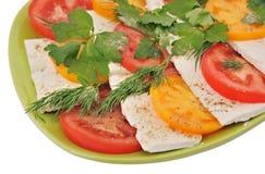 沙拉用蕃茄和无盐干酪在被隔绝的背景 库存图片